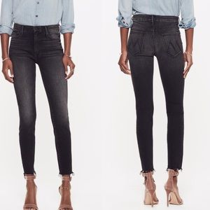 Mother High Waisted Looked Ankle Fray Night Hawk